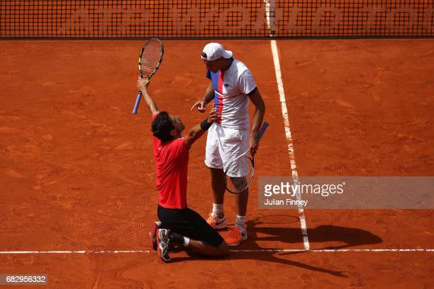 Lukasz Kubot of Poland and Marcelo Melo of Brazil celebrate defeating Nicolas Mahut and Edouard RogerVasselin of France in the doubles final during...