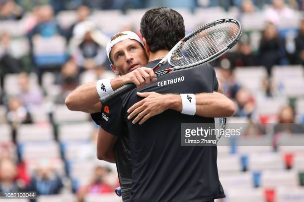 Lukasz Kubot of Poland and Marcelo Melo of Brazil celebrates after winning the Men's doubles final match against Jamie Murray of Great Britain and...
