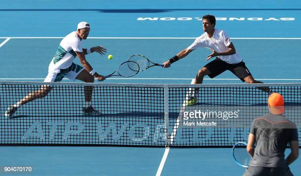 Lukasz Kubot of Poland and Marcelo Melo of Brazil in action in the men's doubles final against Jan Lennard Struff of Germany and Viktor Troicki of...