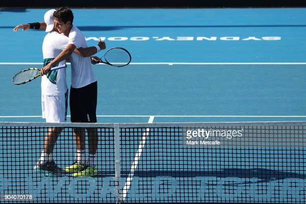 Lukasz Kubot of Poland and Marcelo Melo of Brazilc celebrate victory in the men's doubles final against Jan Lennard Struff of Germany and Viktor...