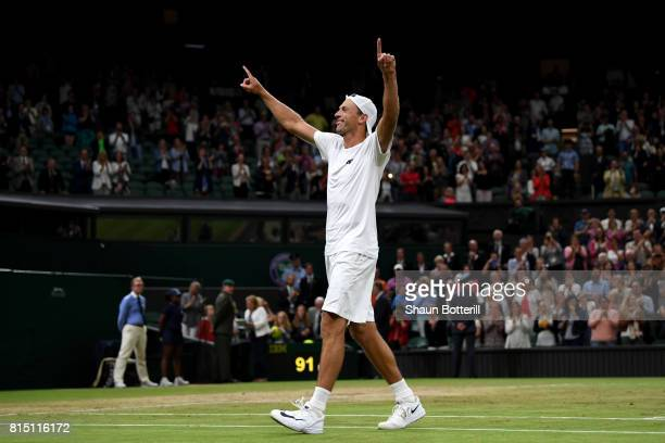 Lukasz Kubot of Poland celebrate victory after the Gentlemen's Doubles final against Oliver Marach of Austria and Mate Pavic of Croatia on day twelve...