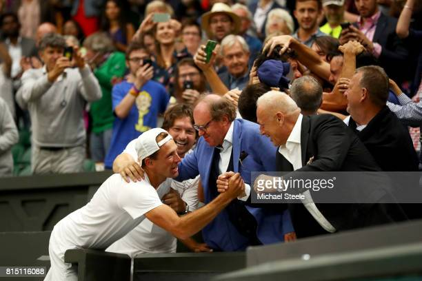 Lukasz Kubot of Poland celebrate victory in the stands during the Gentlemen's Doubles final against Oliver Marach of Austria and Mate Pavic of...
