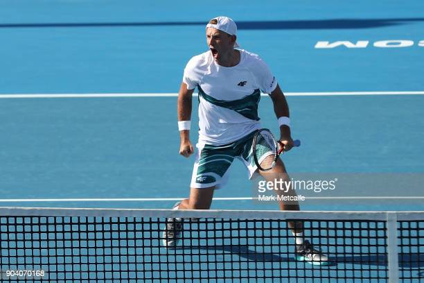 Lukasz Kubot of Poland celebrates victory in the men's doubles final against Jan Lennard Struff of Germany and Viktor Troicki of Serbia during day...