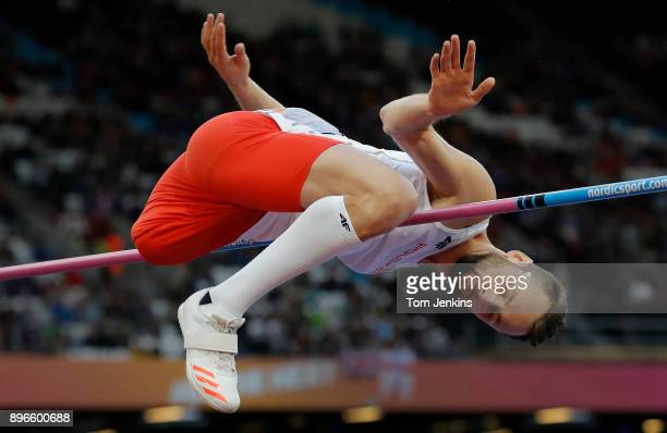 Lukasz Mamczarz of Poland clears the bar in the men's high jump T42 final during the World Para Athletics Championships 2017 at the Olympic Stadium...