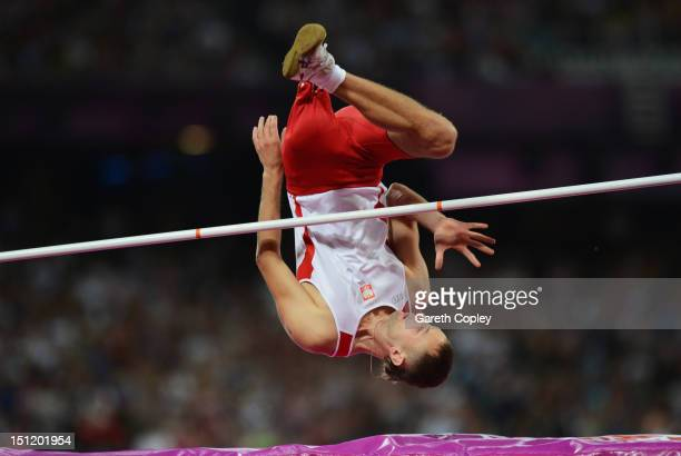 Lukasz Mamczarz of Poland competes in the Men's High Jump F42 on day 5 of the London 2012 Paralympic Games at Olympic Stadium on September 3 2012 in...
