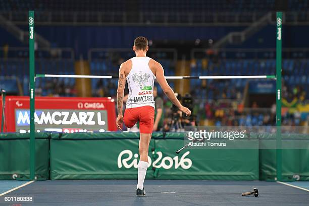Lukasz Mamczarz of Poland prepares to compete in the men's high jump T42 final during the Rio 2016 Paralympic Games at Olympic Stadium on September 9...