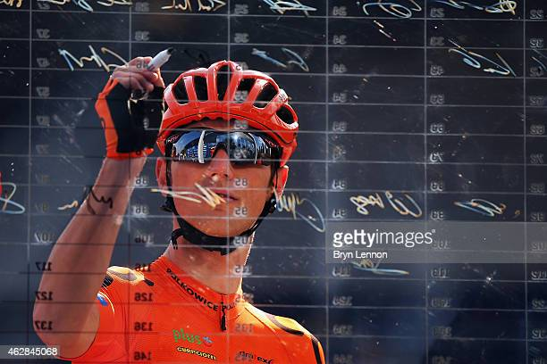 Lukasz Owsian of Poland and CCC Sprandi Polkowice signs on at the start of stage three of the Dubai Tour from the Dubai International Marine Club to...