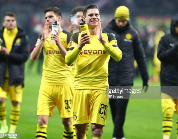 Lukasz Piszczek of Borussia Dortmund acknowleges the fans after the Bundesliga match between Eintracht Frankfurt and Borussia Dortmund at...