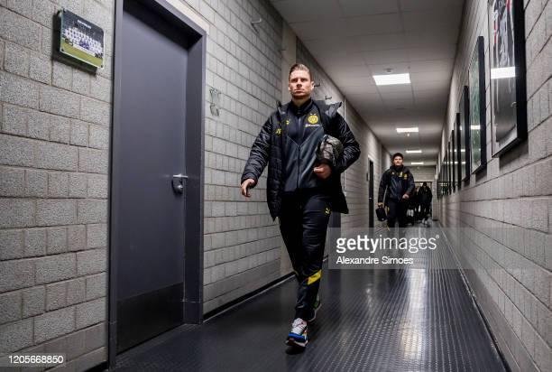 Lukasz Piszczek of Borussia Dortmund arrives at the stadium prior to the Bundesliga match between Borussia Moenchengladbach and Borussia Dortmund at...