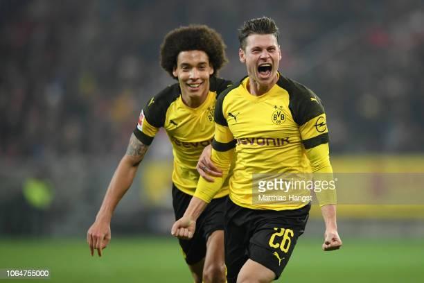 Lukasz Piszczek of Borussia Dortmund celebrates after scoring his team's second goal during the Bundesliga match between 1 FSV Mainz 05 and Borussia...