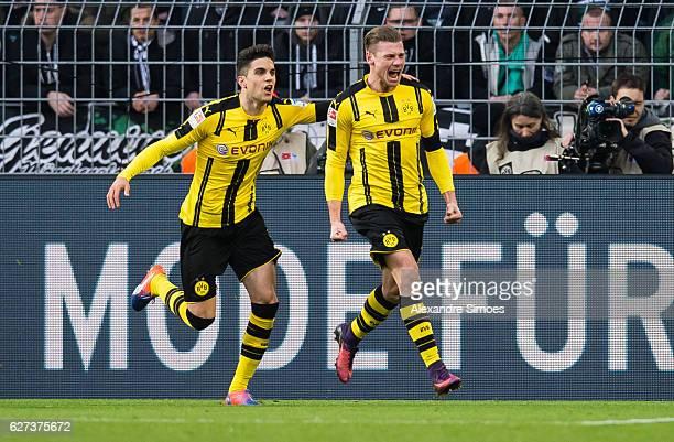 Lukasz Piszczek of Borussia Dortmund celebrates after scoring the goal to the 21 during to the Bundesliga match between Borussia Dortmund and...