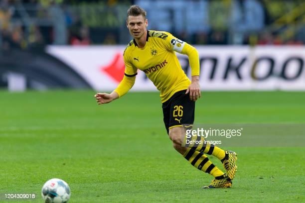 Lukasz Piszczek of Borussia Dortmund controls the ball during the Bundesliga match between Borussia Dortmund and SportClub Freiburg at Signal Iduna...