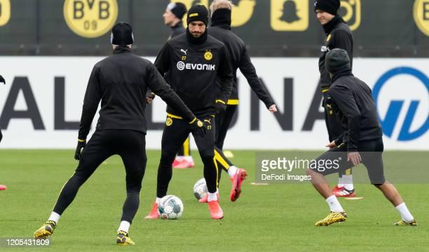 Lukasz Piszczek of Borussia Dortmund Emre Can of Borussia Dortmund and Mahmoud Dahoud of Borussia Dortmund battle for the ball during the Borussia...