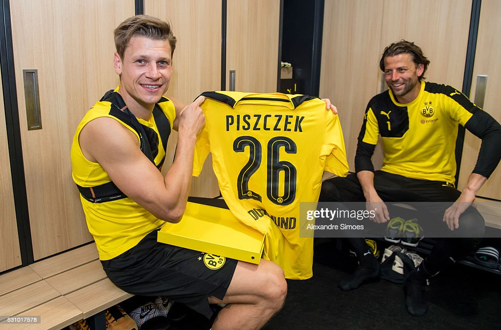 Lukasz Piszczek of Borussia Dortmund revealing the new Borussia Dortmund home jersey, Season 2016-2017 on May 12, 2016 in Dortmund, Germany.