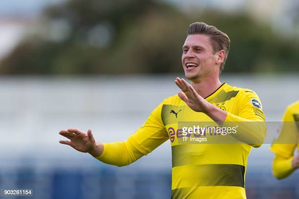 Lukasz Piszczek of Dortmund celebrates after scoring his team`s first goal during the Friendly match between Borussia Dortmund and SV Zulte Waregem...