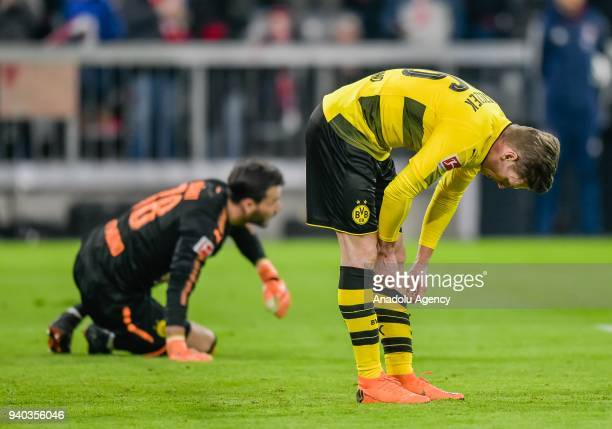 Lukasz Piszczek of Dortmund gestures after the sixth goal for Bayern during the German Bundesliga soccer match between Bayern Munich and Borussia...
