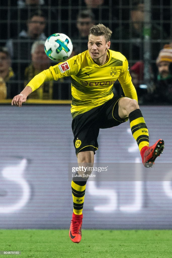 Lukasz Piszczek of Dortmund in action during the Bundesliga match between Borussia Dortmund and VfL Wolfsburg at Signal Iduna Park on January 14, 2018 in Dortmund, Germany.