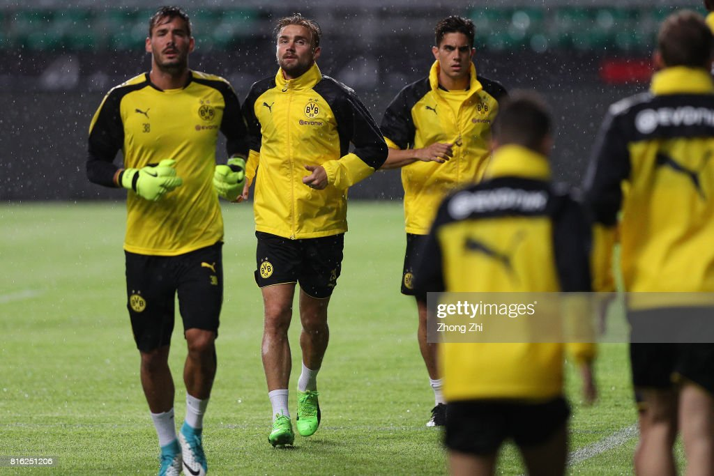 Lukasz Piszczek of Dortmund(L-2) in action during training session ahead of the 2017 International Champions Cup football match between AC Milan and Borussia Dortmund at University Town Sports Centre Stadium on July 17, 2017 in Guangzhou, China.