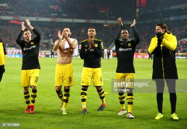 Lukasz Piszczek of Dortmund Oemer Toprak of Dortmund Manuel Akanji of Dortmund Michy Batshuayi of Dortmund and Goalkeeper Roman Weidenfeller of...