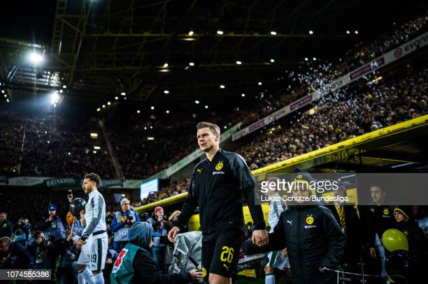Lukasz Piszczek of Dortmund walks onto the pitch prior to the Bundesliga match between Borussia Dortmund and Borussia Moenchengladbach at Signal...