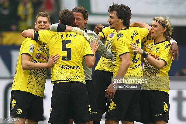 Lukasz Piszczek Sebastian Kehl Roman Weidenfeller Mats Hummels and Marcel Schmelzer of Dortmund celebrate3 the 21 victoiry after the Bundesliga match...