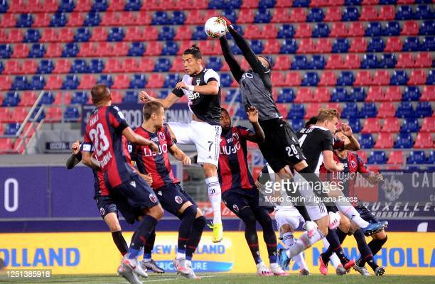 Lukasz Skorupski goalkeeper of Bologna FC in action during the Serie A match between Bologna FC and Juventus at Stadio Renato Dall'Ara on June 22...