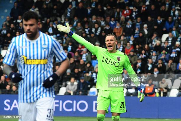 Lukasz Skorupski goalkeeper of Bologna FC reacts during the Serie A match between SPAL and Bologna FC at Stadio Paolo Mazza on January 20 2019 in...