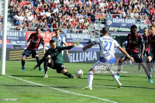 Lukasz Skorupski goalkeeper of Bologna FC saves his goal during the Serie A match between Bologna FC and UC Sampdoria at Stadio Renato Dall'Ara on...