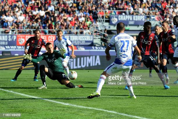 Lukasz Skorupski goalkeeper of Bologna FC saves his goal during the Serie A match between Bologna FC and UC Sampdoria at Stadio Renato Dall'Ara on...