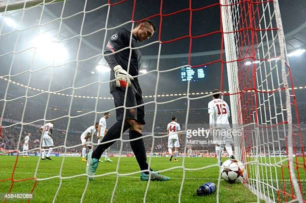 Lukasz Skorupski of AS Roma looks dejected as Franck Ribery of Bayern Muenchen scores their first goal during the UEFA Champions League Group E match...