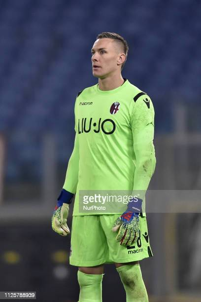 Lukasz Skorupski of Bologna during the Serie A match between Roma and Bologna at Stadio Olimpico Rome Italy on 18 February 2019
