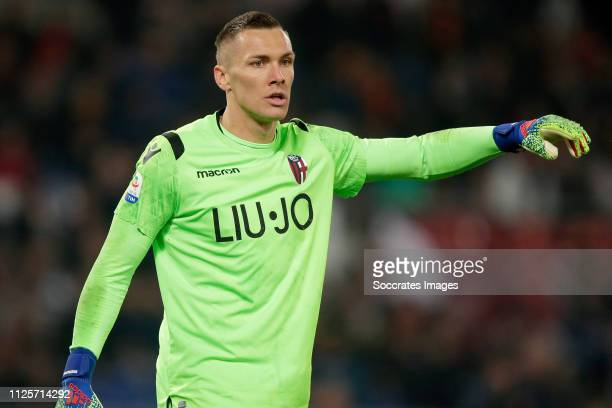 Lukasz Skorupski of Bologna FC during the Italian Serie A match between AS Roma v Bologna at the Stadio Olimpico Rome on February 18 2019 in Rome...