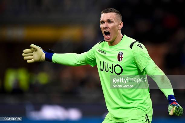 Lukasz Skorupski of Bologna FC gestures during the Serie A football match between FC Internazionale and Bologna FC Bologna FC won 10 over FC...