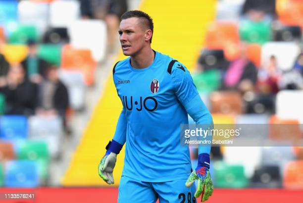 Lukasz Skorupski of Bologna FC looks on during the Serie A match between Udinese and Bologna FC at Stadio Friuli on March 3 2019 in Udine Italy