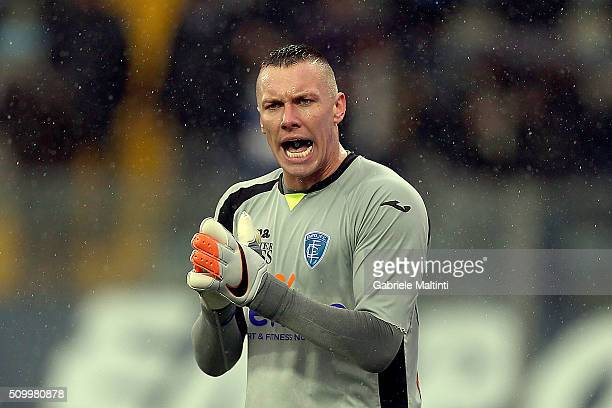 Lukasz Skorupski of Empoli FC reacts during the Serie A match between Empoli FC and Frosinone Calcio at Stadio Carlo Castellani on February 13 2016...