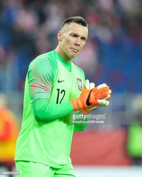 Lukasz Skorupski of Poland reacts during international friendly match between Poland and Korea Republic at Slaski Stadium on March 27 2018 in Chorzow...