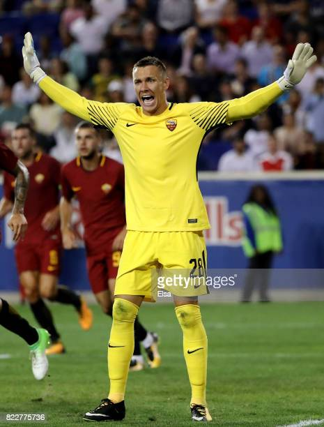 Lukasz Skorupski of Roma reacts in the second half against the Tottenham Hotspur during the International Champions Cup on July 25 2017 at Red Bull...