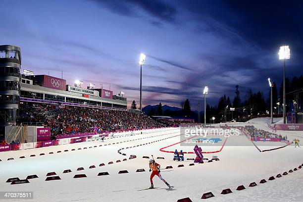 Lukasz Szczurek of Poland competes in the 2 x 6 km Women 2 x 7 km Men Mixed Relay during day 12 of the Sochi 2014 Winter Olympics at Laura...