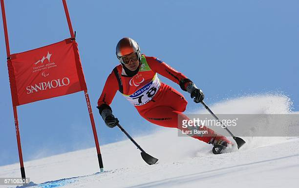 Lukasz Szeliga of Poland competes in the Men's Giant Slalom during Day Six of the Turin 2006 Winter Paralympic Games on March 16 2006 in Sestriere...