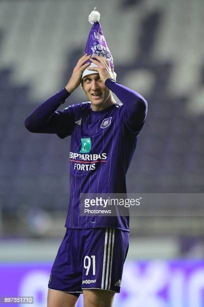 Lukasz Teodorczyk forward of RSC Anderlecht greeting the supporters after the victory during the Jupiler Pro League match between RSC Anderlecht and...