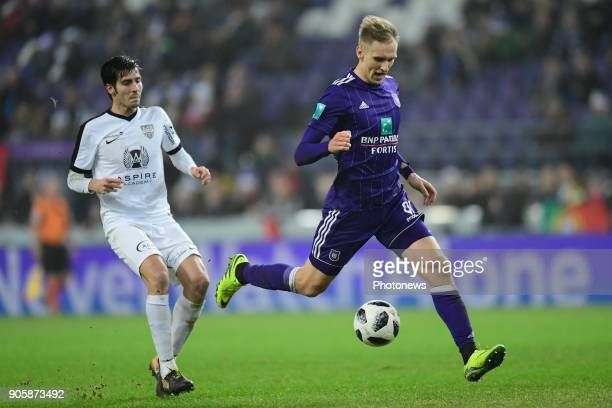 Lukasz Teodorczyk forward of RSC Anderlecht is attacking during the Jupiler Pro League match between RSC Anderlecht and KAS Eupen at the Constant...