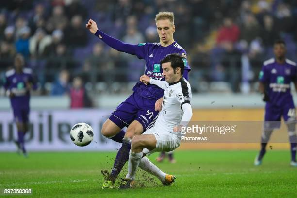 Lukasz Teodorczyk forward of RSC Anderlecht is fighting for the ball with Marc Hernandez Valiente defender of Eupen during the Jupiler Pro League...