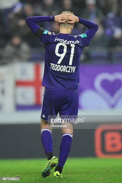 Lukasz Teodorczyk forward of RSC Anderlecht looks dejected after missing an opportunity during the Jupiler Pro League match between RSC Anderlecht...