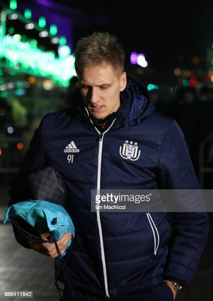Lukasz Teodorczyk of RSC Anderlecht arrives for the UEFA Champions League group B match between Celtic FC and RSC Anderlecht at Celtic Park on...