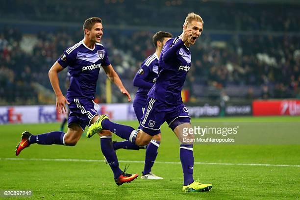 Lukasz Teodorczyk of RSC Anderlecht celebrates after scoring his team's fourth goal during the UEFA Europa League Group C match between RSC...