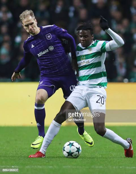 Lukasz Teodorczyk of RSC Anderlecht vies with Dedryck Boyata of Celtic during the UEFA Champions League group B match between Celtic FC and RSC...