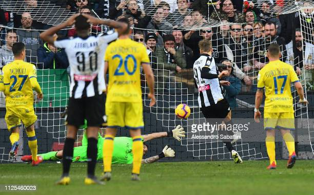 Lukasz Teodorczyk of Udinese Calcio scores the opening goal during the Serie A match between Udinese and Chievo at Stadio Friuli on February 17 2019...