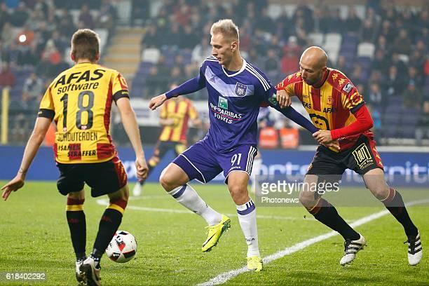 Lukasz Teodorzcyk forward of RSC Anderlecht and Edin Cocalic defender of KV Mechelen pictured during the Jupiler Pro League match between RSC...