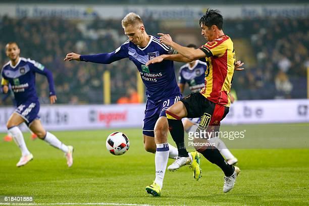 Lukasz Teodorzcyk forward of RSC Anderlecht and Xavier Chen defender of KV Mechelen pictured during the Jupiler Pro League match between RSC...