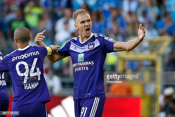 Lukasz Teodorzcyk forward of RSC Anderlecht scores and celebrates pictured during Jupiler Pro League match between RSC Anderlecht and KAA Gent on...